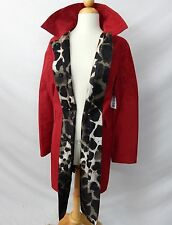 PER SE RED ANIMAL PRINT REVERSIBLE TRENCH RAIN COAT size 14 / 16 / 18  NEW $895