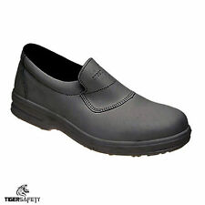 Toesavers 3455 S1 SRC Mens Black Leather Slip On Steel Toe Cap Safety Shoes PPE