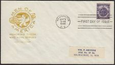 1946 Honoring Those Who Served 3c FDC Sc940 House of Farnam Cachet