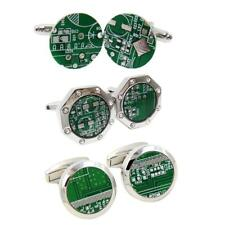 Classic Round Shirt Cuff Links Green Computer Circuit Board Business Cufflinks