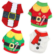 Small Dog Christmas Santa Claus Snowman Elf Candy Cane Pajamas Outfit Costume