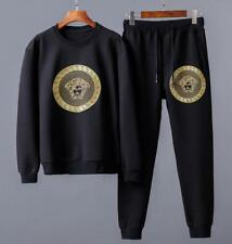 Popular Men's Gold Head Graphic Sweat Suits Sports Casual Jacket Black Pants New