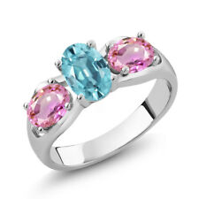 2.30 Ct Oval Blue Zircon Pink Sapphire 925 Sterling Silver Ring