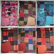 Indian Handmade Patchwork Cotton Kantha Quilt Bedspread Blanket King Size Throw