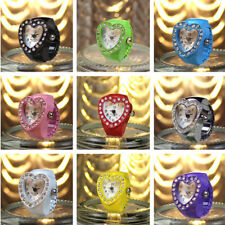 Fashion Cute Finger Accessory Colourful Gift table Women heart-shaped ring watch