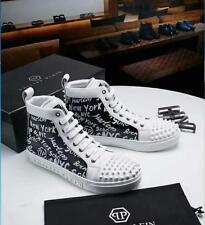 HOT Men's Leather Punk Shoes Rivet  High Top Lace up Fashion Motorcycle Sneakers