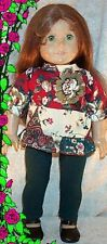 """Doll Clothes Made 2 Fit American Girl 18"""" Christmas 2pc Leggings Top Red Green"""