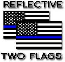 2x REFLECTIVE Blue Lives Matter Police USA American Flag Decal Stickers 12 Sizes