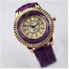 Purple Red Vogue Women Crystal Dial Quartz Analog Leather Bracelet Wrist Watches