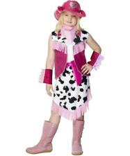 Girls Rodeo cowgirl Fancy Dress Costume Pink and cow print - All sizes
