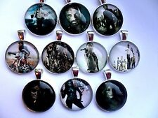 WALKING DEAD Glass Dome Silver or Leather  Necklace Thirteen  to Choose