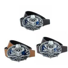 Enamel Skull Pirate Snake Belt Buckle And Leather Belt Waist Belts for Men