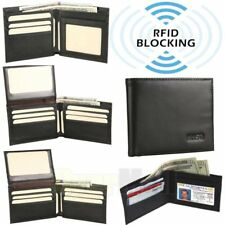 Men Bifold Genuine Leather RFID Blocking Black Flap Card/ID Security Wallet Gift