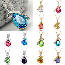 Women Rhinestone Chain Crystal Necklace Colors Twinkle Pendant Water-drop HIGH