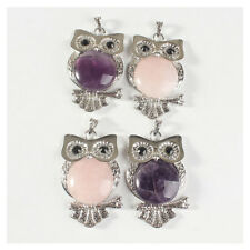 Women Vintage Crystal Cool Owl Pendant Necklace Sweater Purple/Pink Charm Gifts