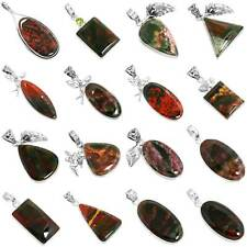 925 Sterling Silver Jewelry Natural Blood Stone Handmade Pendant rE705