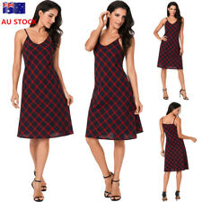 Women V Neck Plaid Backless Sleeveless Mini Dress Cocktail Party  Casual Skirt