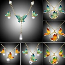 Wedding Bridal Butterfly Crystal Pearl Pendant Necklace Earrings Jewelry Set