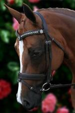 New Brown Leather English Horse Bridle Silver Chain V Padded Reins