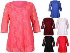 Womens New Half Short Sleeve Ladies Floral Lined Lace Mini Dress Top Plus Size