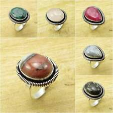 925 Silver Plated Natural BOTSWANA AGATE & Other Gemstone FASHION Ring Jewelry