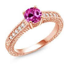 Pink Created Sapphire White Created Sapphire 18K Rose Gold Plated Silver Ring