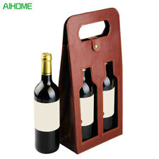 High Quality Red Wine Carrier Gift Packing Box Double Bottles With Leather Tote