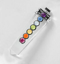 CHARGED Clear Quartz Crystal Point 7 Chakra Gemstone Pendant Necklace HANDMADE