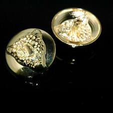10 Sewing Buttons Craft Metal Shank Vintage-Like Round Gold Leopard Face Animal