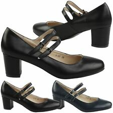 Penny Womens Low Mid Block Heels Dual Strap Mary Janes Shoes Ladies Pumps Size