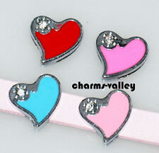 10PCS Enamel Hearts Slide Charms DIY Slider Beads Fit 8mm Wristbands Collar Belt