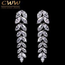 Long Dangling Leaf Austrian Crystal Drop Earring Summer Style Pendientes Jewelry