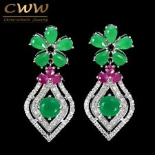 Green Stone Dangling Flower Drop Earrings Elegant White Gold Color Cubic Zircon