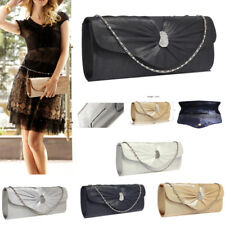 New Ladies Sparkly Crystal Satin Clutch Purse Womens Evening Prom Wedding Wallet