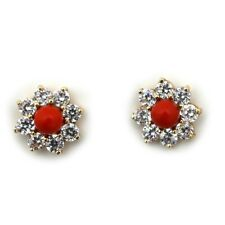 14k Yellow/White Gold Red Simulated Coral Stud Earrings w CZ Earring Jackets