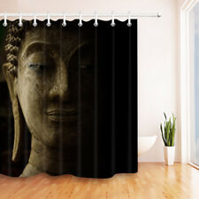Buddha Face with Light Shadow on Black Background Shower Curtain Liner Bathroom
