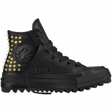 Converse CTAS Lift Ripple Hi Black Gold Women Leather High-top Sneakers Trainers