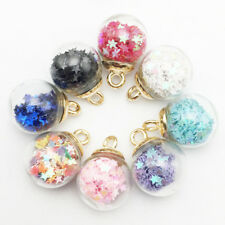 10pcs Fashion Accessories Glass Ball Charms Beaded Pendant DIY Jewelry Craft