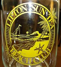 Vintage Lipton Sun Tea Beach Club Glass Jar & Original Yellow Lid w/ Spout VGC