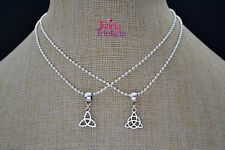 CELTIC KNOT Silver Plated Ball Chain, Choose TRIQUETRA Charm And Length HANDMADE