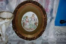 HOLLYWOOD REGENCY ORNATE GILT VELVET PORCELAIN COUPLE PLAQUE CHIC SHABBY VINTAGE