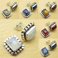 925 Silver Plated Blue Fire RAINBOW MOONSTONE & Other Gems STUD POST Earrings