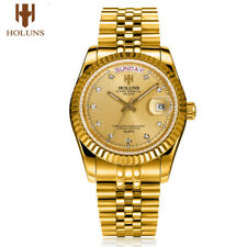 Luxury Golden Stainless Steel Men Watch Date Week Display Diamond Quartz Watch
