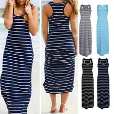 Womens Casual Striped Sleeveless Maxi Dress Beach Dress Vest Dress Beachwear