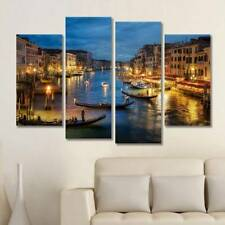 Night Venice Spray Printed Oil Painting Wall Decor Art Unframed On Canvas-NEW