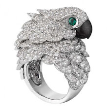 8.6CT White Topaz&Emerald Parrot 925 Silver Wedding Engagement Ring Party Sz6-10
