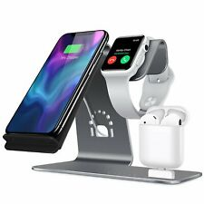 Qi Wireless Charging Charger Dock Stand For iPhone Airpods Apple Watch Aluminum