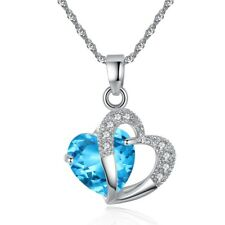 Multi-color Topaz CZ Heart Silver Women Jewelry Necklace Pendant 21mm NL127-1