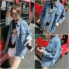 Korean Womens BF Loose Jacket Casual Oversize Denim Jeans Casual Coat Outwear SZ