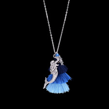Mermaid or Leaf Pendant Necklace Candy Color Long Necklace For Women Jewelry